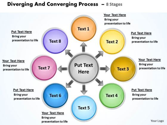 Diverging And Converging Process 8 Stages Cycle Diagram PowerPoint Slides