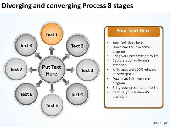 Diverging And Converging Process 8 Stages Cycle Layout Chart PowerPoint Slides