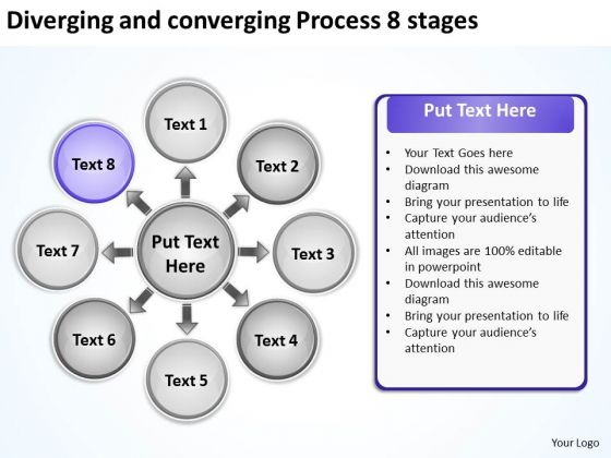 Diverging And Converging Process 8 Stages Cycle Layout PowerPoint Slides