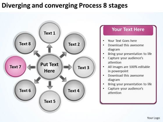 Diverging And Converging Process 8 Stages Ppt Circular Flow Motion Chart PowerPoint Slides