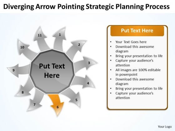 Diverging Arrow Pointing Strategic Planning Process Arrow Cycle Chart PowerPoint Slides