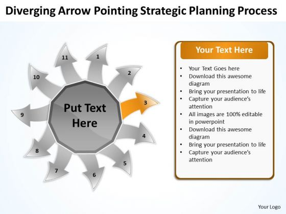 Diverging Arrow Pointing Strategic Planning Process Ppt Radial PowerPoint Slide