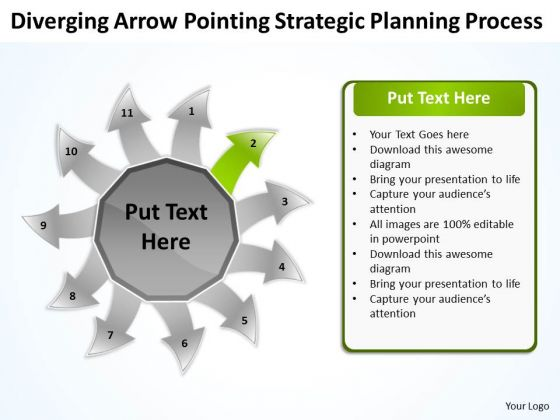 Diverging Arrow Pointing Strategic Planning Process Ppt Radial PowerPoint Slides