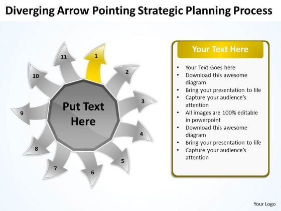 Diverging Arrow Pointing Strategic Planning Process Radial PowerPoint Slides
