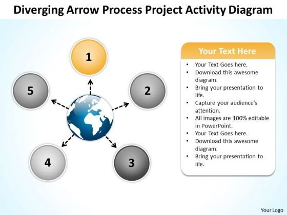 Diverging Arrow Process Project Activity Diagram Ppt Radial Chart PowerPoint Slide