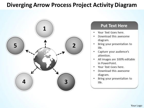 Diverging Arrow Process Project Activity Diagram Ppt Radial Chart PowerPoint Slides