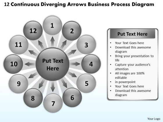 Diverging Arrows Business Process Diagram Circular Network PowerPoint Slides