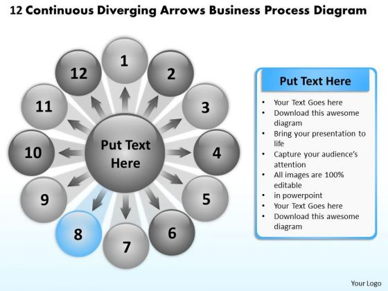 Diverging Arrows Business Process Diagram Relative Cycle PowerPoint Templates