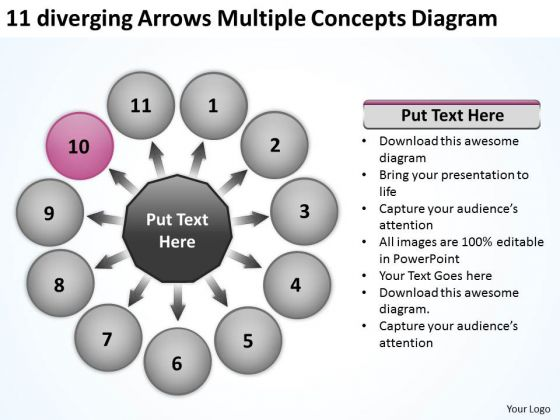 Diverging Arrows Multilple Concepts Diagram Ppt Circular Flow Chart PowerPoint Templates