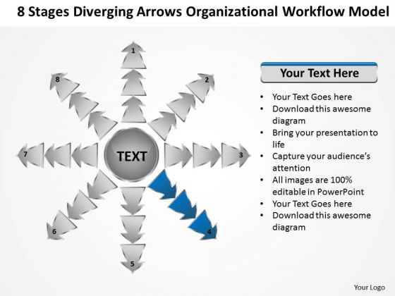 Diverging Arrows Organizational Workflow Model Circular Spoke Diagram PowerPoint Slides