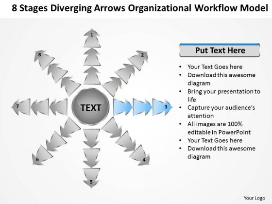 Diverging Arrows Organizational Workflow Model Cycle Process Diagram PowerPoint Slide
