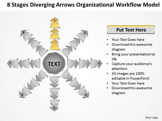 Diverging Arrows Organizational Workflow Model Cycle Process Diagram PowerPoint Slides