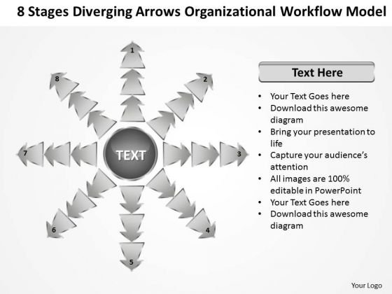 Diverging Arrows Organizational Workflow Model Network Software PowerPoint Slides