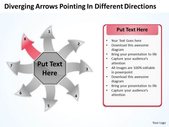 Diverging Arrows Pointing Different Directions Chart Software PowerPoint Templates