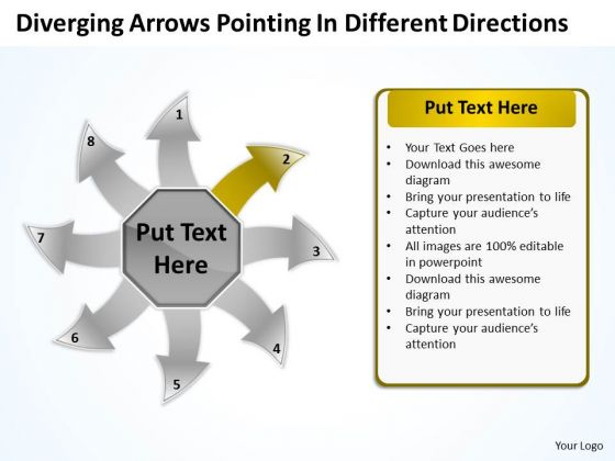 Diverging Arrows Pointing Different Directions Charts And Diagrams PowerPoint Templates