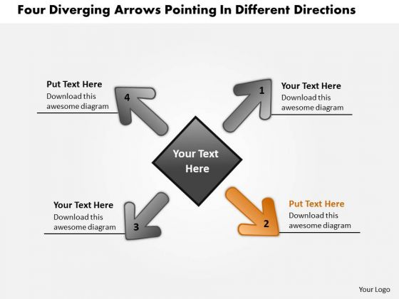 Diverging Arrows Pointing Different Directions Circular Process Chart PowerPoint Slides