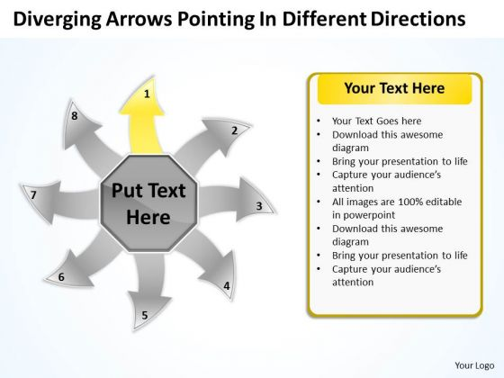 Diverging Arrows Pointing Different Directions Ppt Charts And Diagrams PowerPoint Templates