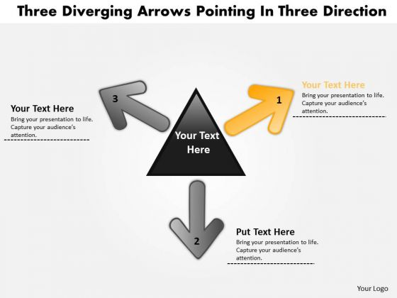 Diverging Arrows Pointing Direction 5 Relative Circular Diagram PowerPoint Templates