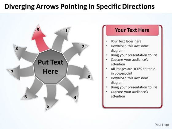 Diverging Arrows Pointing Specific Directions Chart Software PowerPoint Template