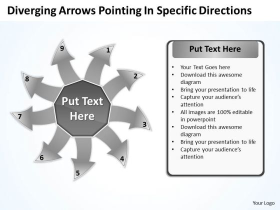 Diverging Arrows Pointing Specific Directions Chart Software PowerPoint Templates