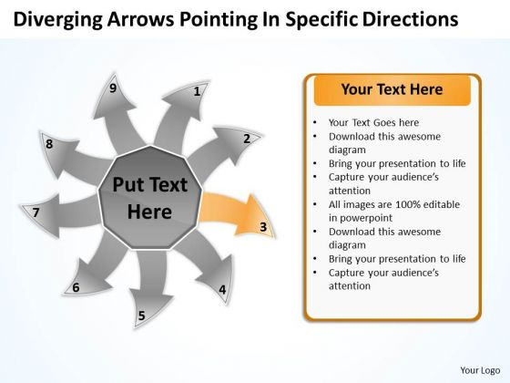 Diverging Arrows Pointing Specific Directions Cycle Process PowerPoint Slides