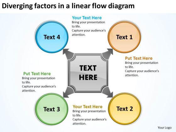 Diverging Factors Linear Flow Diagram Cycle Chart PowerPoint Slides