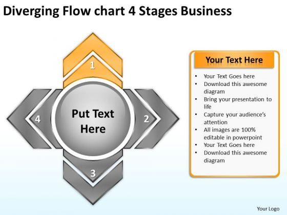 Diverging Flow Chart 4 Stages Business Circular PowerPoint Templates
