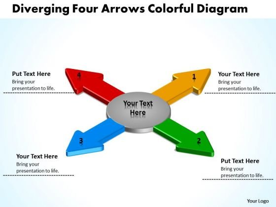 Diverging Four Arrows Colorful Flow Diagram Cycle PowerPoint Slides