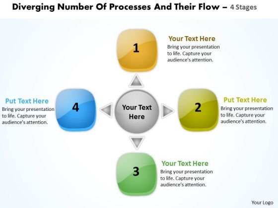 Diverging Number Of Processes And Their Flow 4 Stages Cycle Diagram PowerPoint Slides
