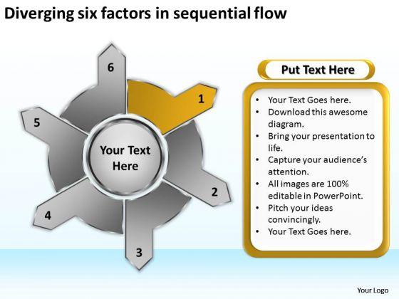 Diverging Six Factors Sequential Flow Circular Arrow Diagram PowerPoint Slides