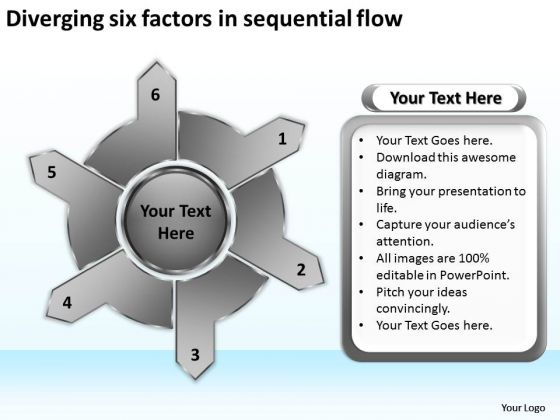 Diverging Six Factors Sequential Flow Circular Layout Chart PowerPoint Templates