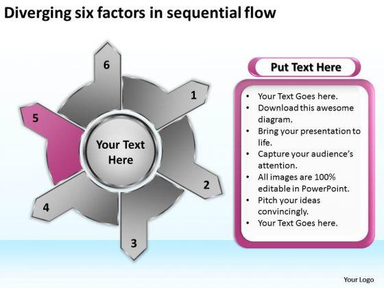Diverging Six Factors Sequential Flow Target Chart PowerPoint Slides