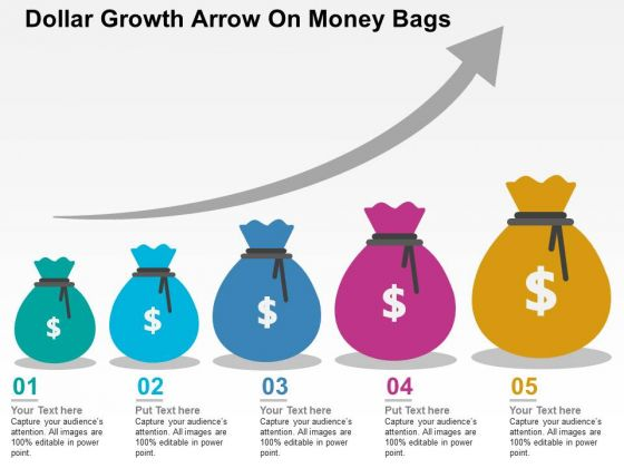 Dollar Growth Arrow On Money Bags PowerPoint Templates