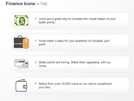 Dollar Notes Suitcase Debit Cards Wallet Ppt Slides Graphics
