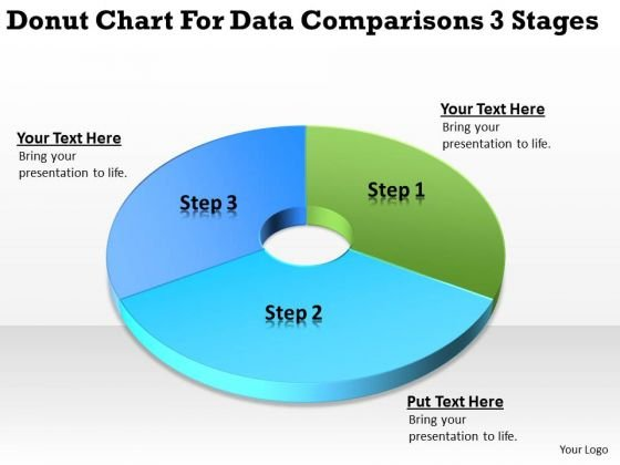 Donut Chart For Data Comparisons 3 Stages Business Planning PowerPoint Slides