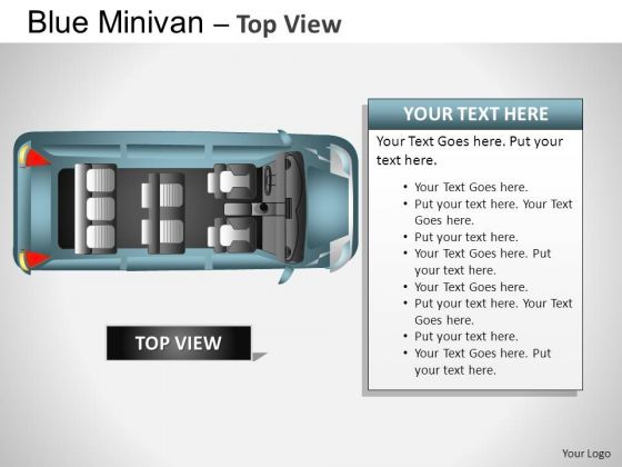 Dormobile Blue Minivan Top View PowerPoint Slides And Ppt Diagram Templates