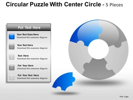 Download Circular Puzzle With Center Circle 5 Pieces PowerPoint Slides And Ppt Diagram Templates