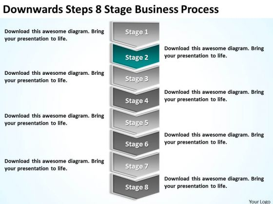 Downwards Steps 8 Stage Business Process Ppt Plan For PowerPoint Slides