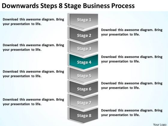 Downwards Steps 8 Stage Business Process Ppt Plan PowerPoint Templates