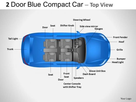 Driving City 2 Door Blue Car Top PowerPoint Slides And Ppt Diagram Templates