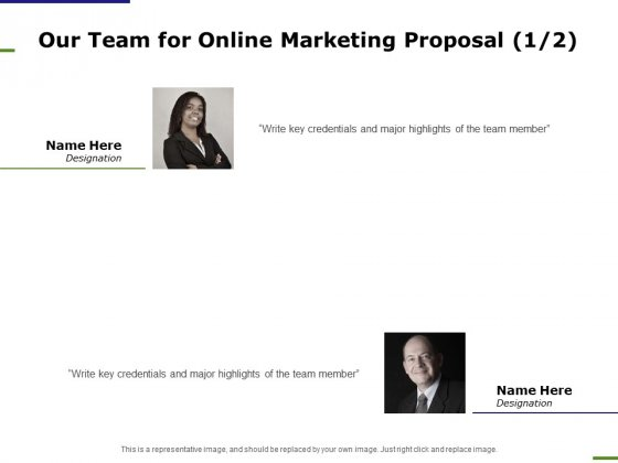 E Marketing Our Team For Online Marketing Proposal Highlights Ppt Summary Vector PDF