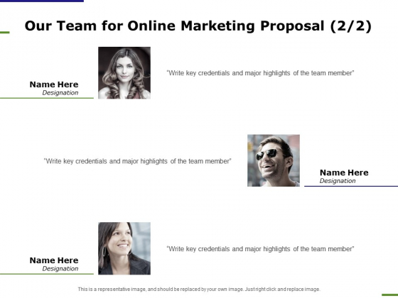 E Marketing Our Team For Online Marketing Proposal Ppt Infographic Template Deck PDF