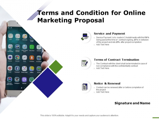 E Marketing Terms And Condition For Online Marketing Proposal Ppt Ideas Tips PDF