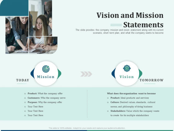 Early Stage Funding Vision And Mission Statements Ppt Infographic Template Graphics PDF