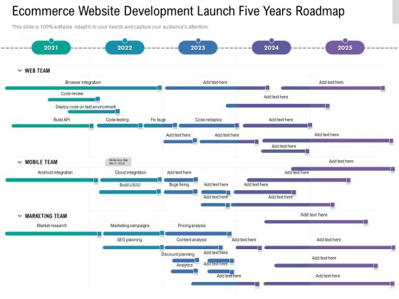 Ecommerce Website Development Launch Five Years Roadmap Information