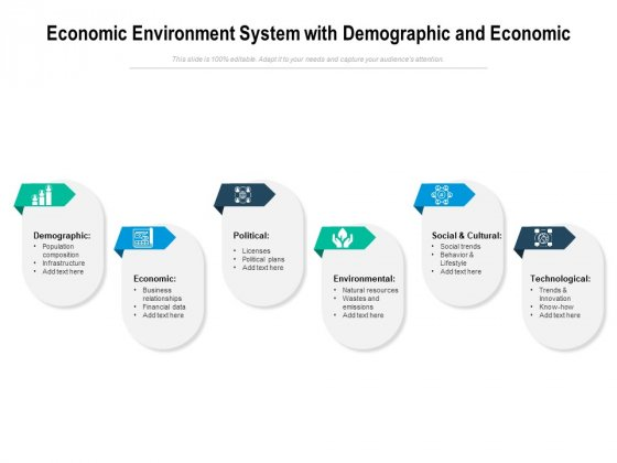 Economic Environment System With Demographic And Economic Ppt PowerPoint Presentation Gallery Elements PDF