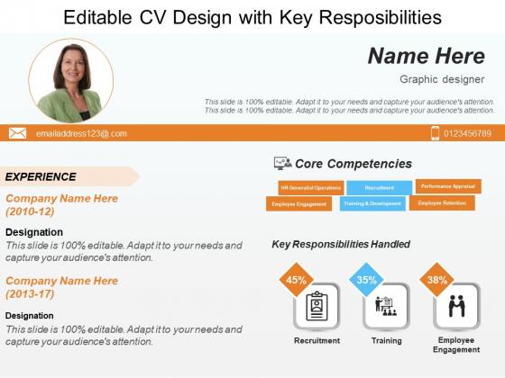 Editable CV Design With Key Resposibilities Ppt PowerPoint Presentation Model Templates PDF