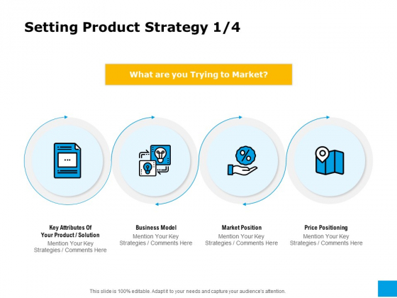 Effective Advertising And Sales Management Setting Product Strategy Ppt Model Graphics Example PDF