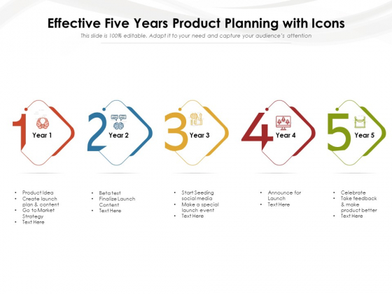 Effective Five Years Product Planning With Icons Ppt PowerPoint Presentation Infographic Template Show PDF