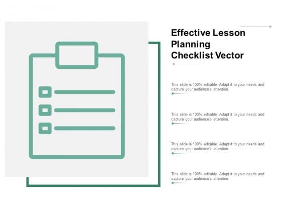 Effective Lesson Planning Checklist Vector Ppt PowerPoint Presentation Ideas Deck
